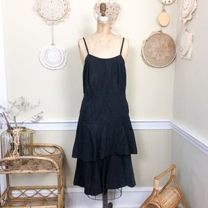 Vintage 1980s Black Cotton Linen Midi Ruffle Dress